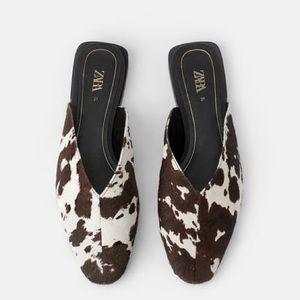 NEW Zara Animal Cow Print Calf Hair Leather Mules